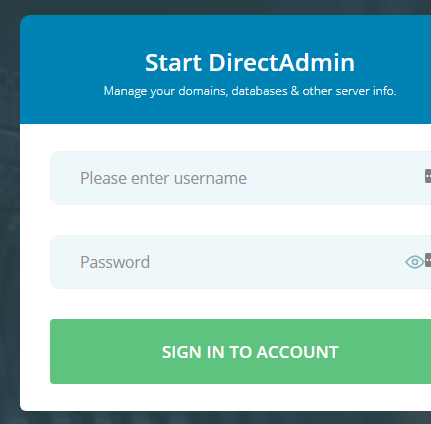 Direct Admin login page